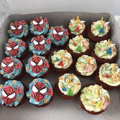 Spider-Man cupcakes and unicorn cupcakes