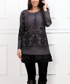 Another great find on #zulily! Charcoal Damask & Ruffle-Hem Scoop Neck Tunic - Plus #zulilyfinds