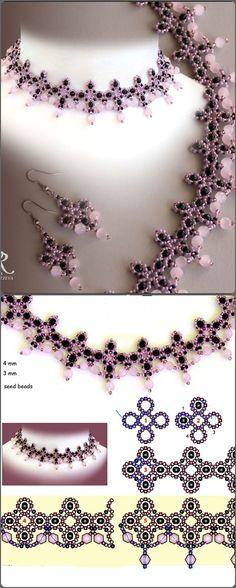 collar rosa y negro, con su esquema