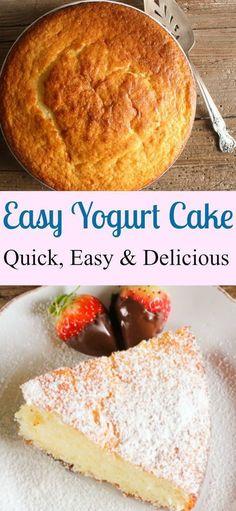 A super easy healthy Greek yogurt cake recipe, delicious and moist, strawberry, blueberry you decide, Greek yogurt or regular yogurt! The perfect summertime or anytime dessert./anitalianinmykitchen.com