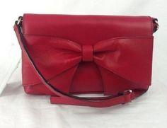 Kate Spade Aster Bow Small Leather Evening Shoulder Bag Crossbody Dynasty Red  #katespade #EveningBag