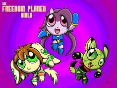 Freedom Planet X PowerPuff Girls fan art. #freedomplanet #powerpuffgirls