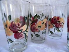 Beverage glasses with roses by Morningglories1 on Etsy, $40.00