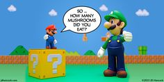 PopFig photo comic with Mario and an over-sized Super Luigi and this text: How many mushrooms did you eat, exactly?
