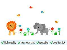 Lion and Elephant with Flowers Mini Wall Decal Set - Jungle Room Decor