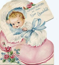 Vintage baby congratulations card for grandparent.