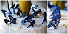 origami birds!  these would be cute for so many things -- bunting, a chandelier, seating cards, place cards...