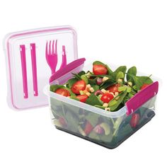 Sistema Lunch Plus To Go Lunch Container - Pink Color Accents