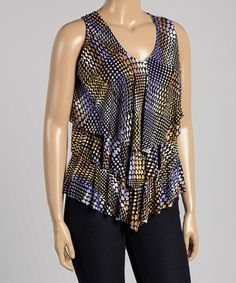 Loving this Puple & Yellow Abstract Tier V-Neck Tank - Plus on #zulily! #zulilyfinds
