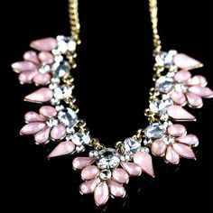 necklace with triple loop and crystal design in pink white or mint green 16 inch