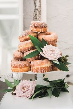 wedding donuts - photo by Gray Door Photography http://ruffledblog.com/industrial-meets-earthy-wedding-inspiration