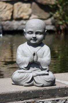Statuette moine Shaolin en méditation - maison/jardin - 42 cm (hauteur) - gris: Amazon.fr: Jardin