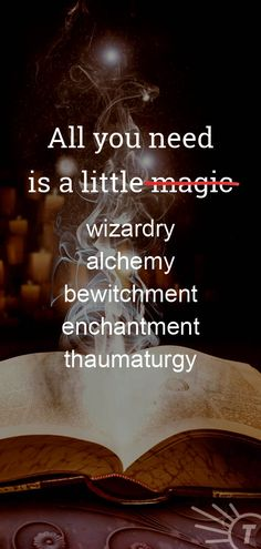 Add some magic to your day--or add one of its synonyms. Check out Thesaurus.com for more word sorcery. #HarryPotter #JKRowling #Quotes #AmWriting Under A Spell, Improve Your Vocabulary, Magic Words, More Words, Optical Illusions, Bingo, The Magicians, Improve Yourself
