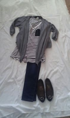MAY 17: Grey cardigan, Black and White striped top, jeans, Coach flats