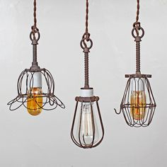 Vintage Industrial Wire Bulb Cage Trouble Light by FleaMarketRx, $130.00