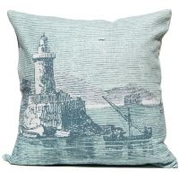 Lighthouse Engraving - Silverberry Pillow