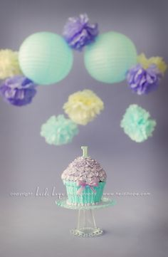 smash cake - I want to do the tissue paper puffs and hang them low enough for the smash cake photos