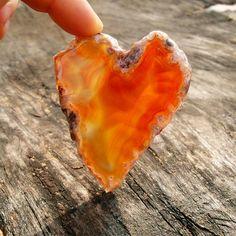 Natural Heart Shape Orange Agate Slice Semiprecious by QStone