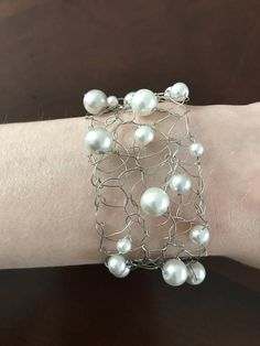 Ready To Ship Hand Knitted Wire Pearl Bracelet Bridal