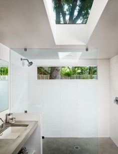 love the shower set-up | modern bathroom by Clayton Architects