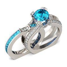 Aquamarine Brilliant Cut Two in One 925 Sterling Silver Women's Wedding Ring Set   eBay