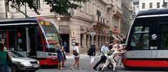 push-starting a tram in Prague Prague, Weird, Street View