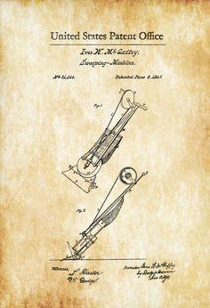 Vacuum Cleaner Patent 1869 - Sweeping Machine Vintage Machines Vacuum Cleaner by PatentsAsPrints
