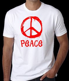 Peace T-Shirt  with Red Screen Printed Peace Sign Design. Unisex sizes for both men and women.