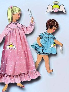 Simplicity Pattern 1824 Toddler Girl's Nightgown and Pajamas Pattern with Uncut Transfer for Angel Face Applique Dated 1956 Complete Nice Condition 12 of 12 Pieces Comes with Uncut Transfer Counted. V