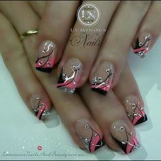 Luminous Nails: Neon Pink, Black & Silver Nails with Bling. Hot Nails, Pink Nails, Glitter Nails, Hair And Nails, Sparkly Nails, Pink Sparkly, Beautiful Nail Designs, Beautiful Nail Art, Cool Nail Designs