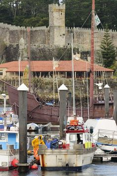 Port of Baiona, Galicia, Spain angler artisan atlantic baiona bayona boat boulevard castle coast coastal fisher fishing fortification Places Around The World, Around The Worlds, Asturian, Seville Spain, Green Landscape, Spain And Portugal, Pamplona, Spain Travel, Terra