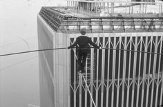 Philippe Petit Walks across the World Trade Center Towers Manhattan, 1974