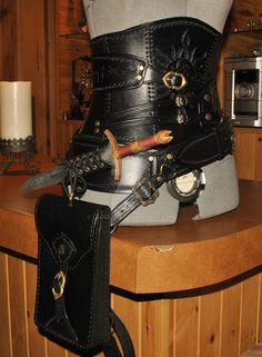 leather corset and belt assembly by Lagueuse