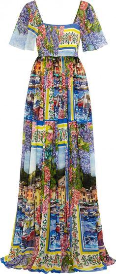 Portofino bedrucktes Maxi-Kleid aus Seiden-Chiffon, zu kaufen