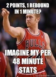 2 points, 1 rebound in 1 minute?  Imagine my per 48 minute stats!