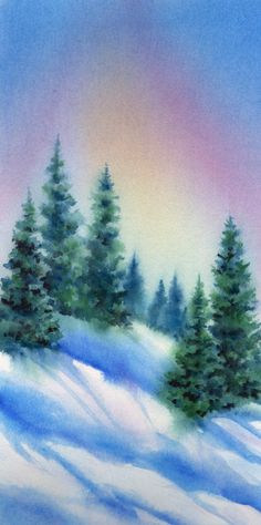 Tree Line watercolor 13 x 7""
