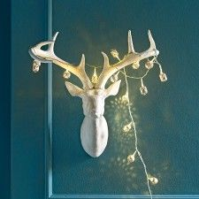 White Resin Stag Head with Antlers