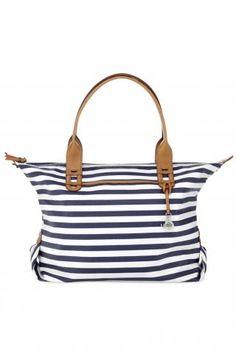 Navy & White Stripe Tote Bag & Satchel | How Does She Do It Tote | Stella & Dot click to shop @ www.stelladot.com/loriakowalik