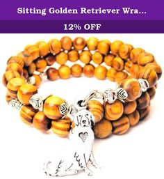 """Sitting Golden Retriever Wrap Around Wood Bracelet. All natural wooden organically dyed wrap around bracelet. Includes American Pewter 22mm Sitting Golden Retriever charm. Bracelet expands to over 8"""". One size fits all."""