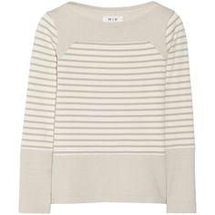 MiH Jeans The Breton Saddle striped cotton top ($76) ❤ liked on Polyvore featuring tops, sweaters, shirts, cream, breton top, breton stripe shirt, breton stripe top, breton striped shirt and cream shirt