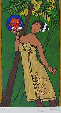 """MAQBOOL FIDA HUSAIN FOLKLORE KERALA - IV """"If Kashmir is all about men and mountains"""" the Kerala """"is all about women and nature"""" - Maqbool Fida Husain"""