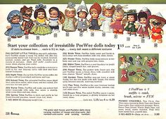 Pee Wees dolls by Uneeda and other vintage toys Barbie Paper Dolls, 1960s Toys, Tiny Dolls, Time Capsule, Toy Story, Vintage Toys, Poodle, Fun Things, Fashion Dolls