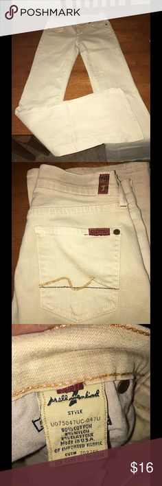 7 For All Mankind Size 24 Jeans Boot cut tan jeans. From 7 For All Mankind.  Size 24. Great condition.  Important:   All items are freshly laundered as applicable prior to shipping (new items and shoes excluded).  Not all my items are from pet/smoke free homes.  Price is reduced to reflect this!   Thank you for looking! 7 for all Mankind Jeans
