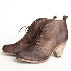 """Chelsea Crew Belgrade Lace-up Ankle Booties 108.99 at shopruche.com. Fabulously chic and unique, these ankle booties are crafted with a suede upper body garnished with a dark brown oil finish for aesthetic and interest. Completed with a wooden stacked heel.  Suede upper Non-skid rubber sole 3"""" heel  Slightly cushioned footbed"""