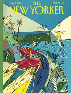 "The New Yorker - Monday, August 9, 1993 - Issue # 3572 - Vol. 69 - N° 25 - Cover ""The Ocean or Bust"" by Javier Mariscal"