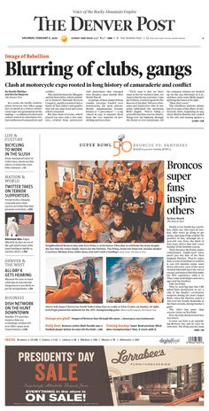 #20160206 #USA #COLORADO #DENVAR #TheDenverPost Saturday FEB 6 2016 http://www.newseum.org/todaysfrontpages/?tfp_show=80&tfp_page=1&tfp_id=CO_DP