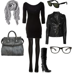 black on black, minus the glasses and swap out the scarf to either black, white, or a bold color.