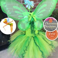 Ready to ship TinkerBell pixie cut TuTu by CharmCreated Pixie Hollow, Tinkerbell Party, Pixie Cut, Diy Crafts For Kids, Tutu, Wings, Fairy, Etsy Shop, Ship