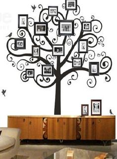 family-tree-wall-decal - like the all black and white idea but a little too curly cue for me Family Tree Mural, Family Tree Photo, Picture Tree, Family Wall, Photo Tree, Wall Decals, Wall Vinyl, Mural Wall, Wall Art