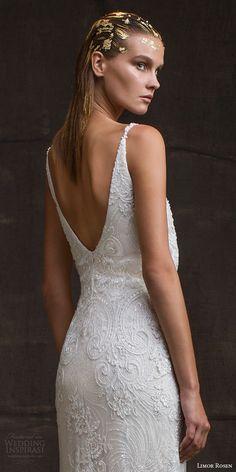 limor rosen bridal 2016 treasure sarina sleeveless lace wedding dress v neck straps blouson bodice low back view close up